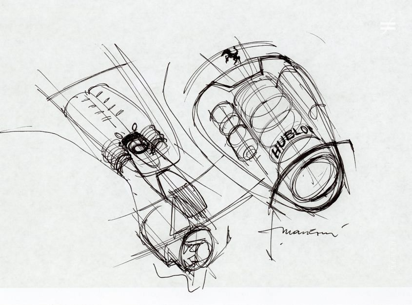 "One of Manzoni's sketches from the planning stage of the Hublot LaFerrari MP-05. ""This was done during a brainstorm with the Hublot and Ferrari design team, to show the relationship between the engine and the replica watch."""