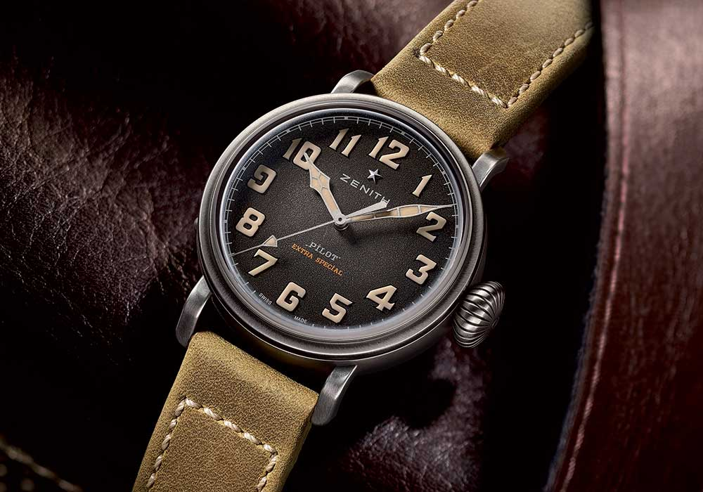 c1a045bf2cb Zenith is nailing the trends with a smaller version of its famous pilot  replica watch which usually comes in ...