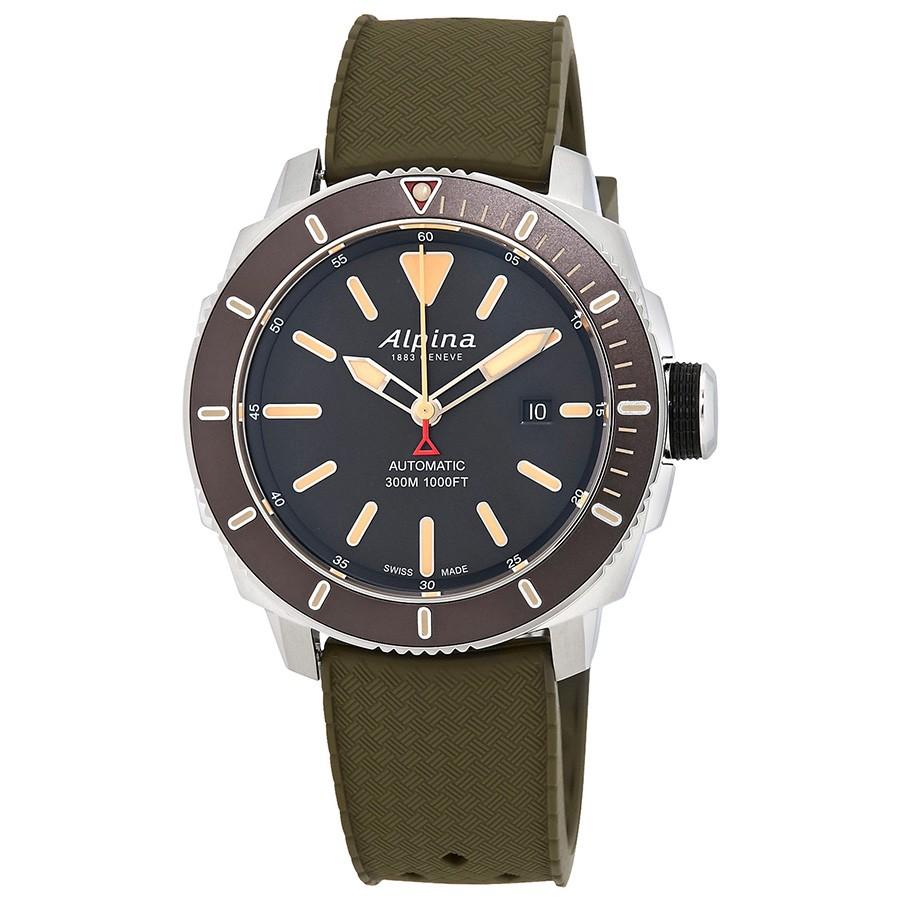 Alpina Seastrong Diver Automatic Green Rubber Men's Watch AL-525LGG4V6-GN