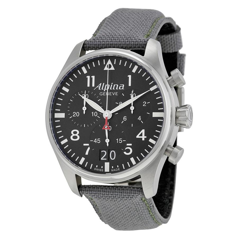 Alpina Startimer Pilot Black Dial Grey Fabric Men's Watch AL372B4S6