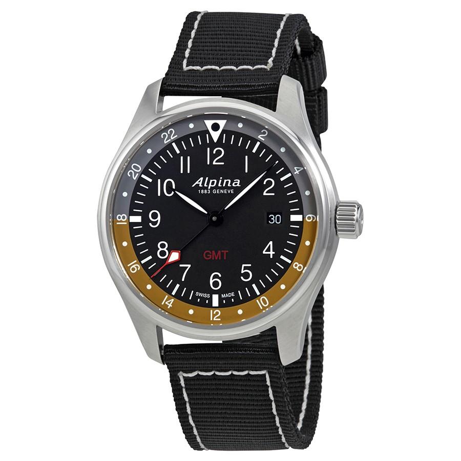 Alpina Startimer Pilot Black Dial Men's GMT Watch AL-247BBG4S6